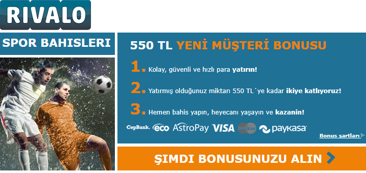 Rivalo bahis sitesi - 550TL bonus!